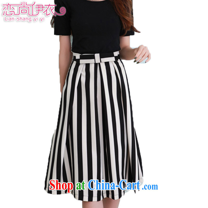 Land is the Yi 2015 spring and summer, the Korean version of the greater code dress classic black-and-white vertical stripes graphics thin elegant body long skirt striped aprons 98,356 black streaks XXXXL