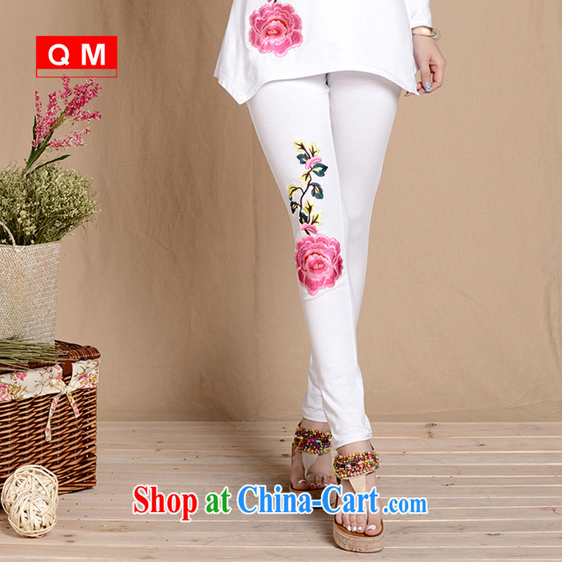 End very stylish Ethnic Wind Peony embroidered stretch solid pants larger female ZJXD 31.5863 white XXL