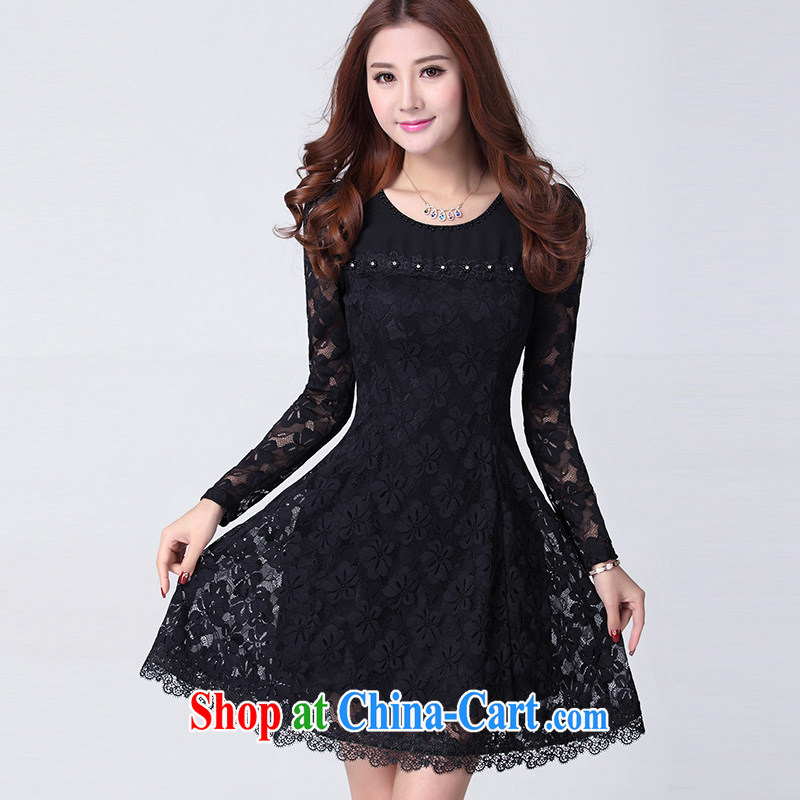 The Code graphics thin girls boutique thick MM Korean lady sweet beauty lace long-sleeved 2015 spring dresses - YY 003,900 black 3 XL code