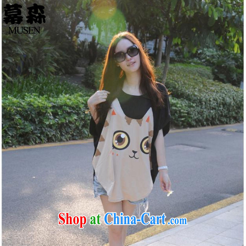 The sum 2015 summer a large number women 200 Jack thick MM increase the fertilizer innocent big face cat fat sister graphics thin short-sleeved T-shirt, black color code
