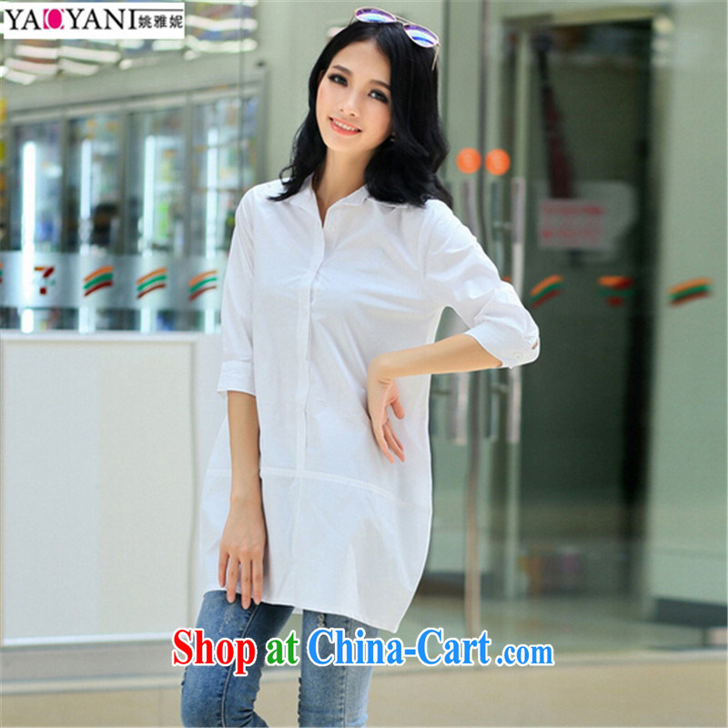 Yao her 2015 spring new stylish Korean Solid Color cotton solid dress shirt, long, lapel shirt pregnant women dress thick MM the code t-shirt white XL