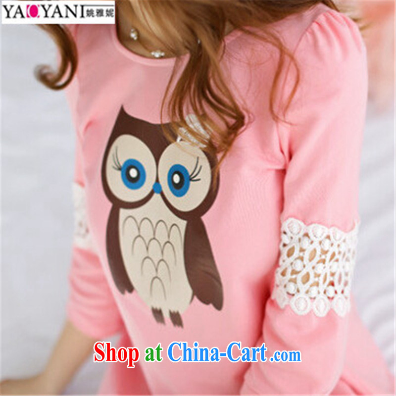 Yao her 2015 spring new cute cartoon stamp T shirts loose larger sweet Openwork pregnant women with T-shirt lace stitching thick MM solid shirt pink XL