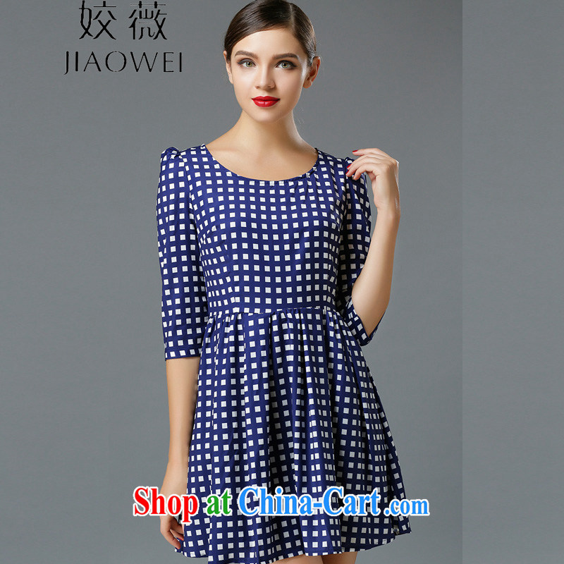 Ms Audrey EU focus larger women dress mm thick Stylish spring new cultivating grid stamp 7 cuff skirt JW 3315 blue M