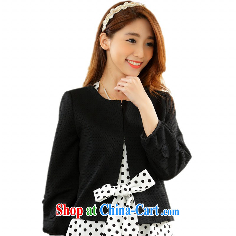 Package e-mail delivery and obesity mm long-sleeved short jacket, the Code on T-shirt dress shawl sunscreen winter and spring loaded Small jacket OL graphics thin lady, black XXXL approximately 150 - 165 jack