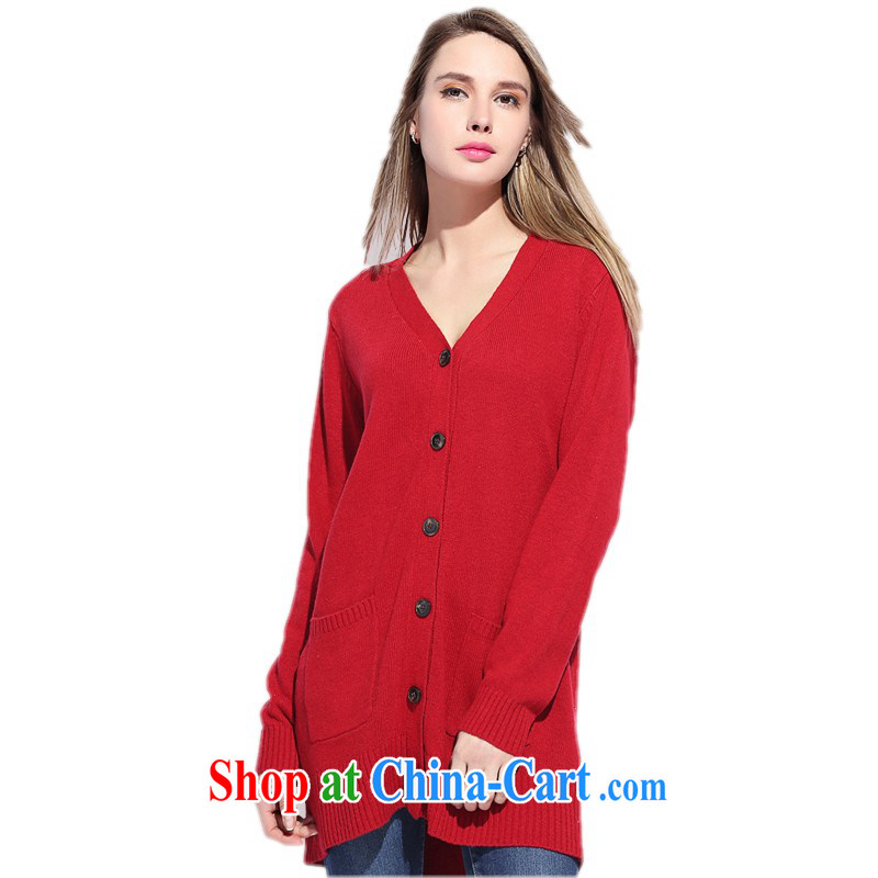 The package on the big sister, the fat knitting T-shirt sweater cardigan jacket in Europe long jacket, 2015 spring new shawl video thin knitted red 5 XL approximately 190 - 210 jack