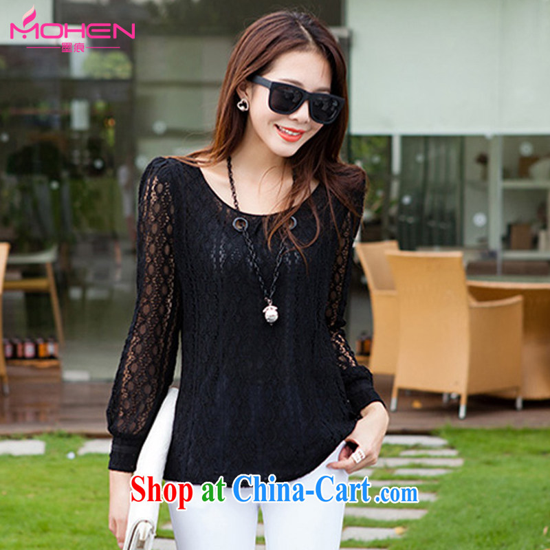 Scratches are present on the 2015 spring loaded new, larger female Korean mm thick and indeed increase code 100 ground round-collar lace Openwork long-sleeved T-shirt black 4XL (145 - 155 ) jack