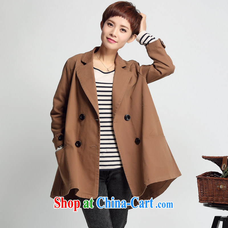 2015 new autumn Korean version 7 cuff-yi, thick MM the fat girl jacket double-middle-aged female walnut XL