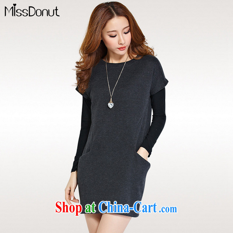 MissDonut spring 2015 the fat XL thick girls with thick mm Korean video thin two-piece long-sleeved Dress Shirt solid dark gray large code 4 XL