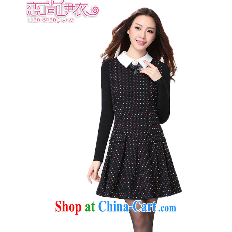 Land is the Yi 2015 spring new Korean female and indeed increase, female fat MM thick sister Sau San video thin suit long-sleeved dress 2188 black suit XXXXL