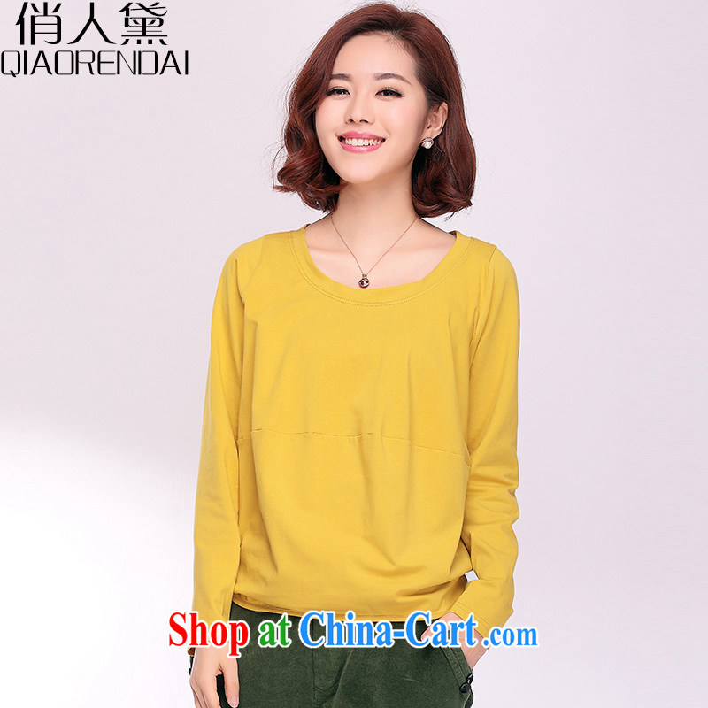 For Estee Lauder, 2015 spring new women T long-sleeved shirt, loose T-shirt Han version larger female 100 solid ground shirt Mustard Yellow XXXL