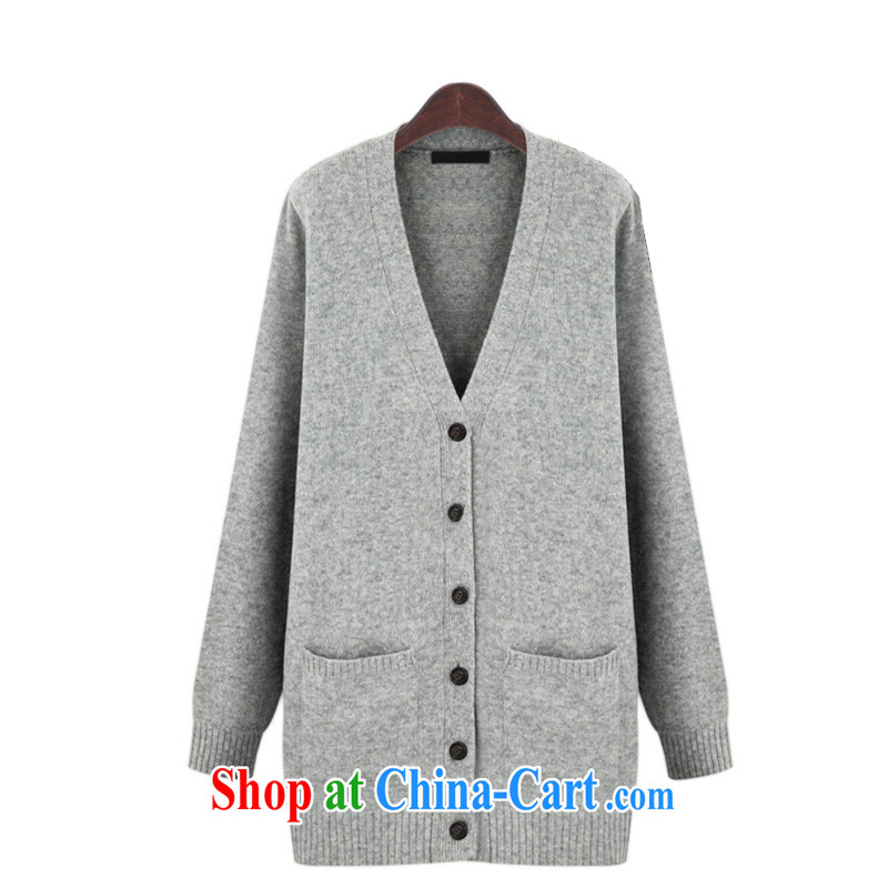 The delivery package as soon as possible by the European site spring OLV collar knit shirts jacket thick mm XL long-sleeved, long jacket, cardigan red thick sister light gray 5 XL approximately 190 - 210 jack