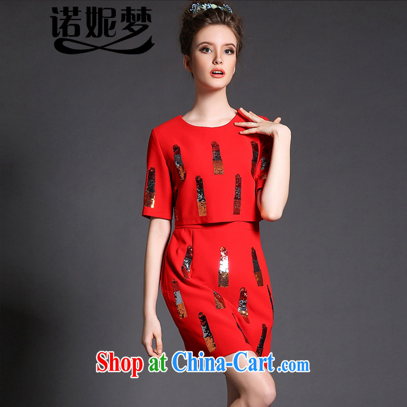 The Ni-2015, spring dresses high-end European and American fare is indeed increasing, female 200 Jack leave two-piece style, graphics thin short skirt G 1556 red XXL