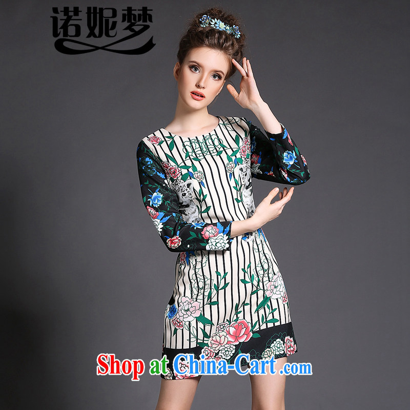 The Ni-2015, high-end European and American original Ethnic Wind and indeed XL female elegant stamp long-sleeved video thin beauty package and dresses G 1557 green XXXXXL