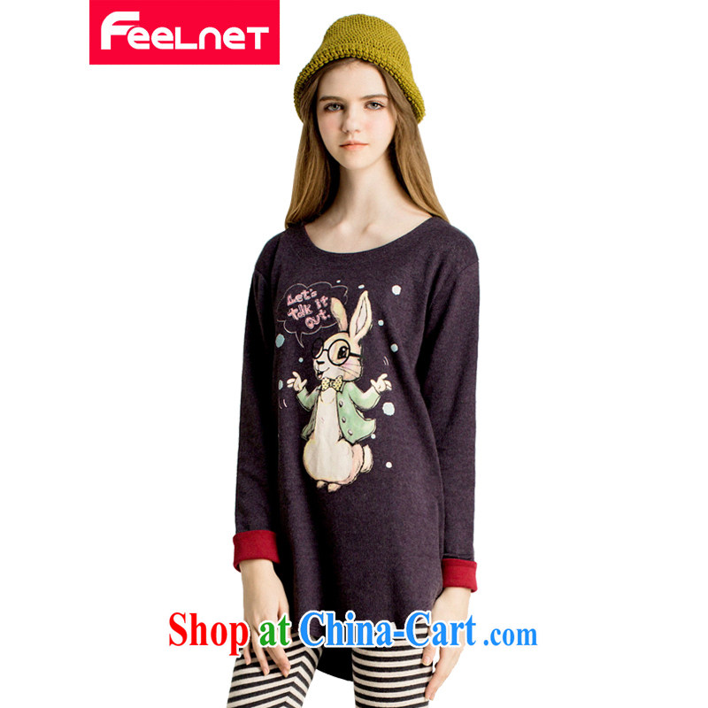 The feelnet Code women 2015 spring new graphics thin thick mm T-shirt Han version stamp duty increase code T pension 2232 dark blue large code 3 XL - has been the arrival