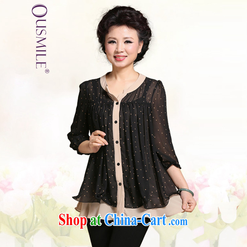 2015 Ousmile female summer dot loose 7 snow cuff woven shirts mother in the elderly, female 0372 wave point, 3 XL