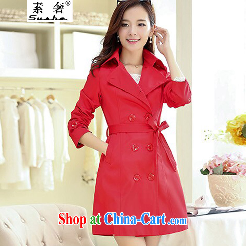 Plenty of spring 2015 new Korean version in cultivating long double-wind jacket large, thick MM cultivating graphics thin windbreaker woman with red belt XXXXL