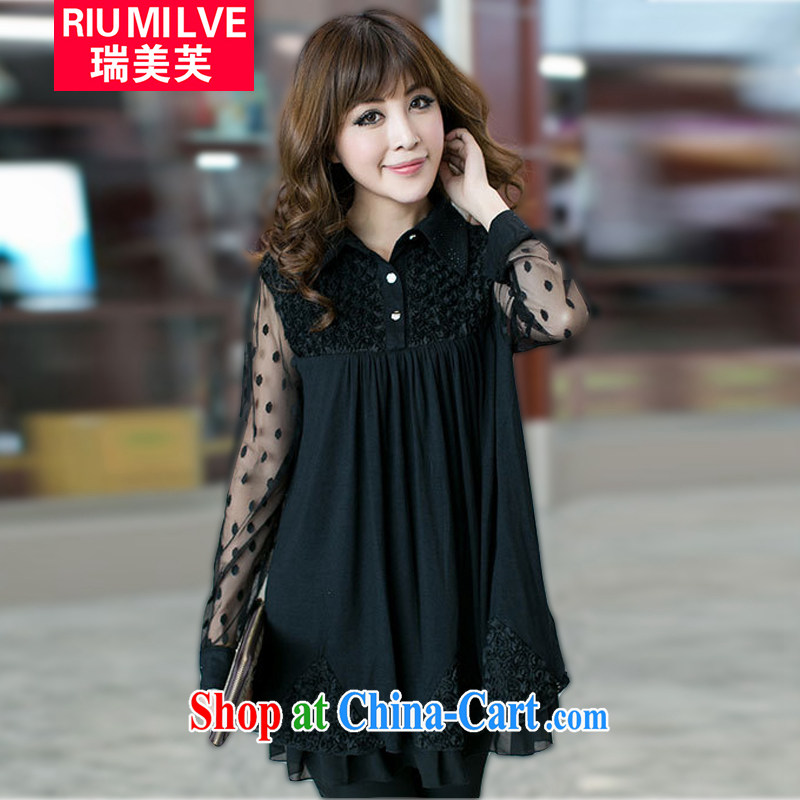 Ryan and the United States concluded the Code women 2015 spring and summer new thick mm loose video thin wave Web yarn stitching snow woven dresses SM 2301 black XXXXXL