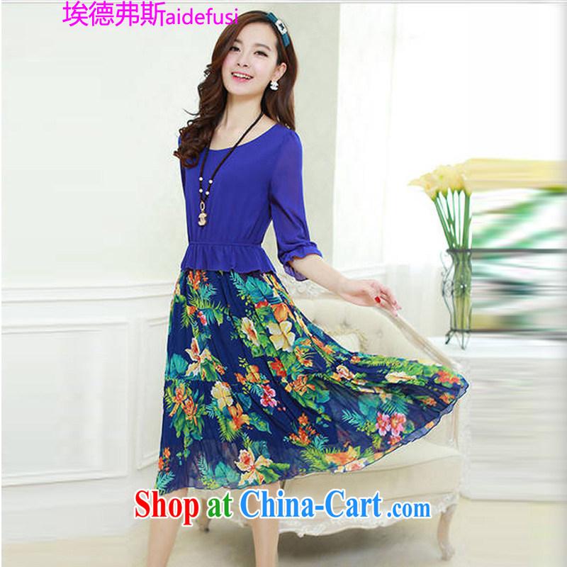 Mr. Frank, the Code women 2015 bohemian long skirt floral snow woven dresses bubble solid cuff dress girls 2213 BMW blue XL