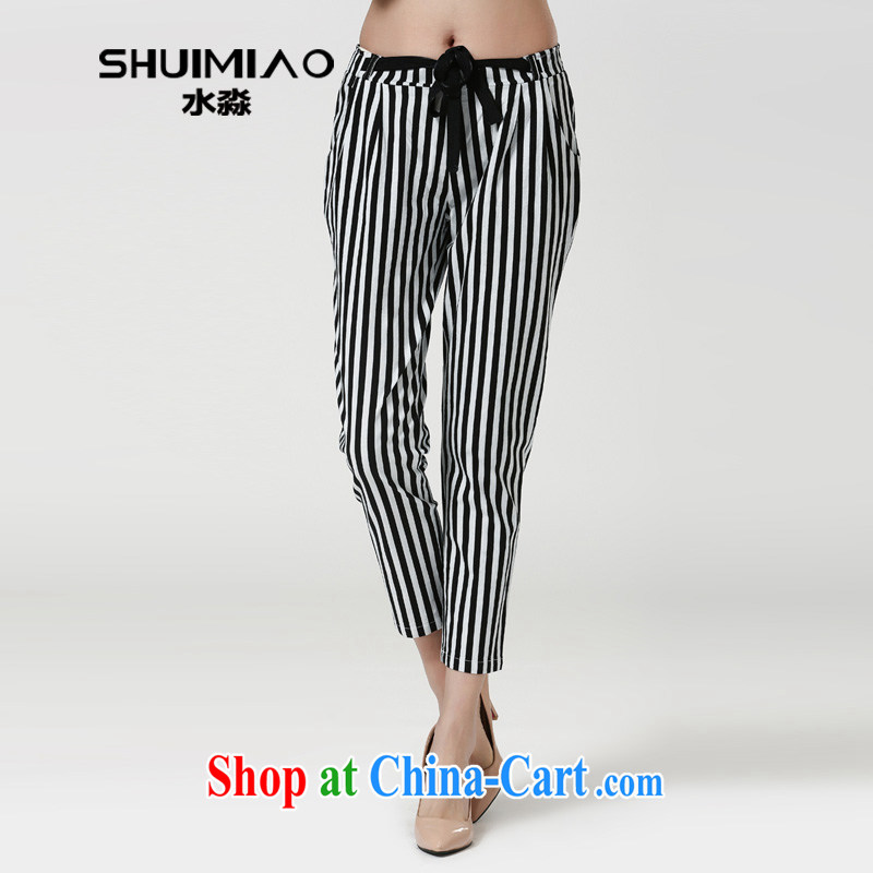 Water with larger female Trouser press 2015 spring new Korean leisure high waist black-and-white stripes 9 pants S CW 15 4545 black-and-white _4XL
