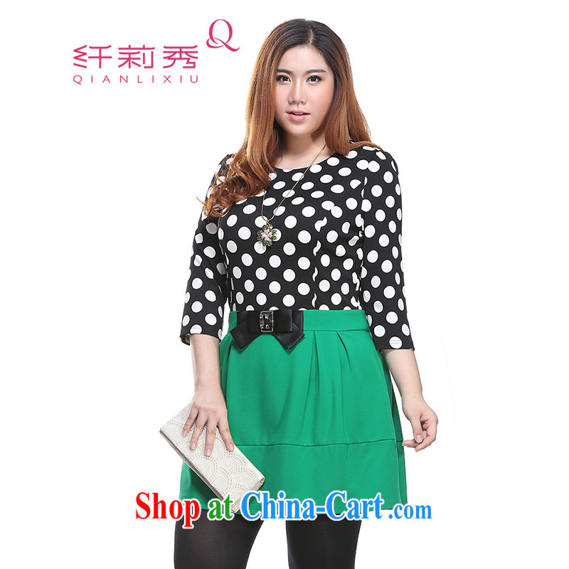 Slim LI Sau 2015 spring new XL dress chubby sister graphics thin round-collar wave point series spelling and skirt the code Q 7006 green XL