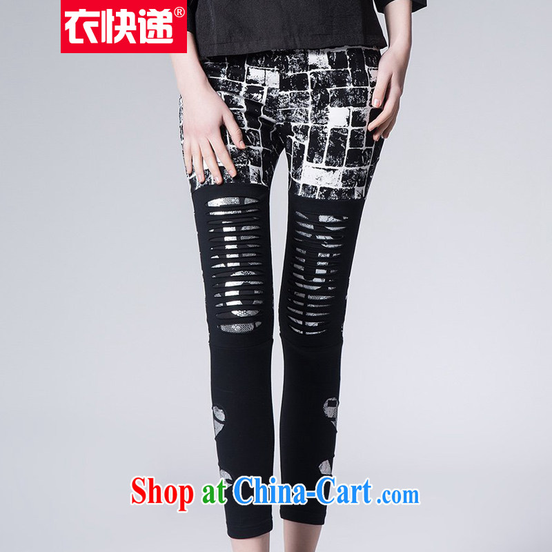 Yi express 2015 spring mm thick waist in biological Empty burning a larger pants castor pants graphics thin solid long pants E 2214 black 3 XL
