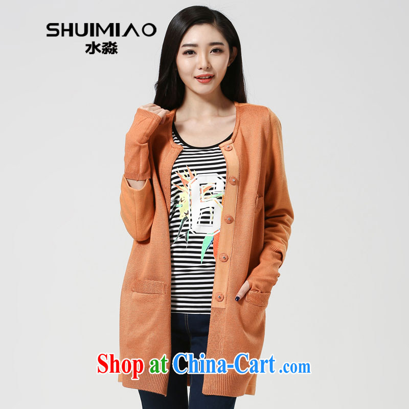 Water was increased, women spring 2015 new, long, knitted sweater jacket, cardigan S CJ 15 4492 light new orange XXL