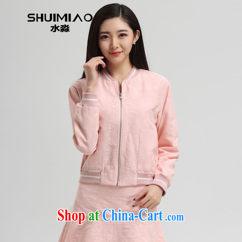 Water with the FAT increase female 2015 spring new Korean baseball uniform female thin coat short S CJ 15 4511 peaches toner XXL