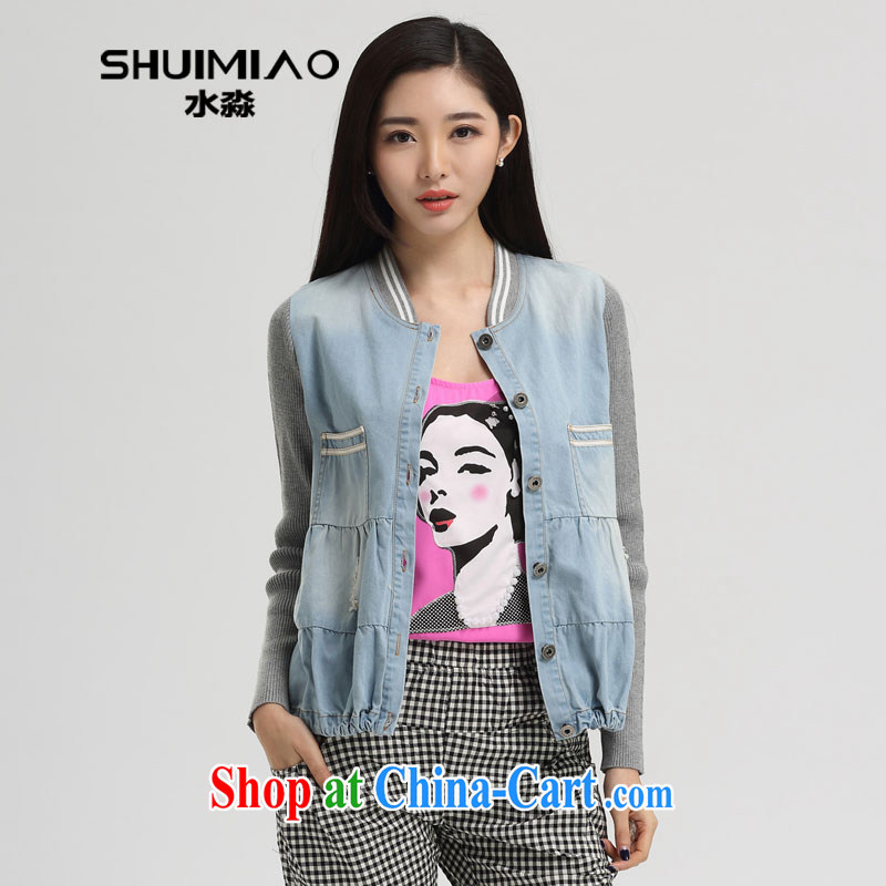 Water with the Code women 2015 new spring Korean version on 100 mm ground denim jacket girls short S CJ 15 4566 cowboy, XXL