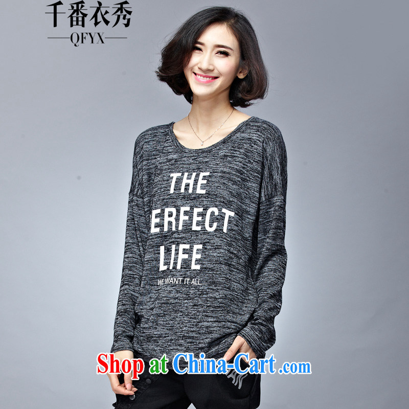 1000 double Yi Su-2015, replacing the code female long-sleeved shirt T girl thick mm and indeed graphics thin bat shirt long loose solid shirt Q 1015 gray XXXL
