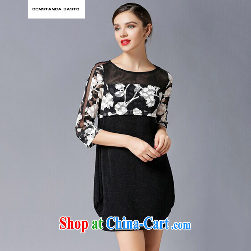 C . B Europe larger female thick MM graphics thin 2015 spring new stylish and elegant graphics thin stamp beauty dress 4321 black XXXXL