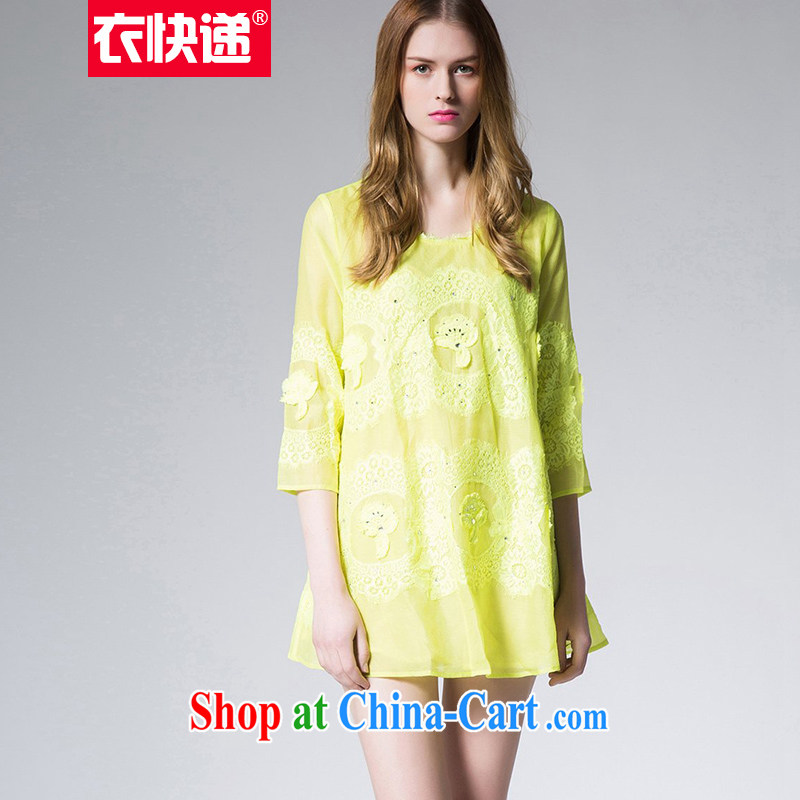 Yi express 2015 spring lace T shirts skirts larger female 7 cuffs loose thick mm video thin T-shirt large E 2231 yellow 4 XL