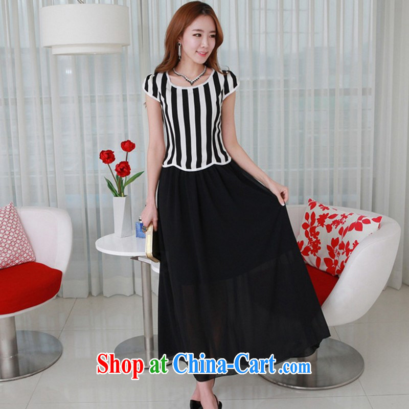 The package mail XL leisure long skirt striped short-sleeved spell color snow woven dresses OL lady beach skirt elegant goddess summer long skirt black 21 shipping 4 XL approximately 165 - 180 jack