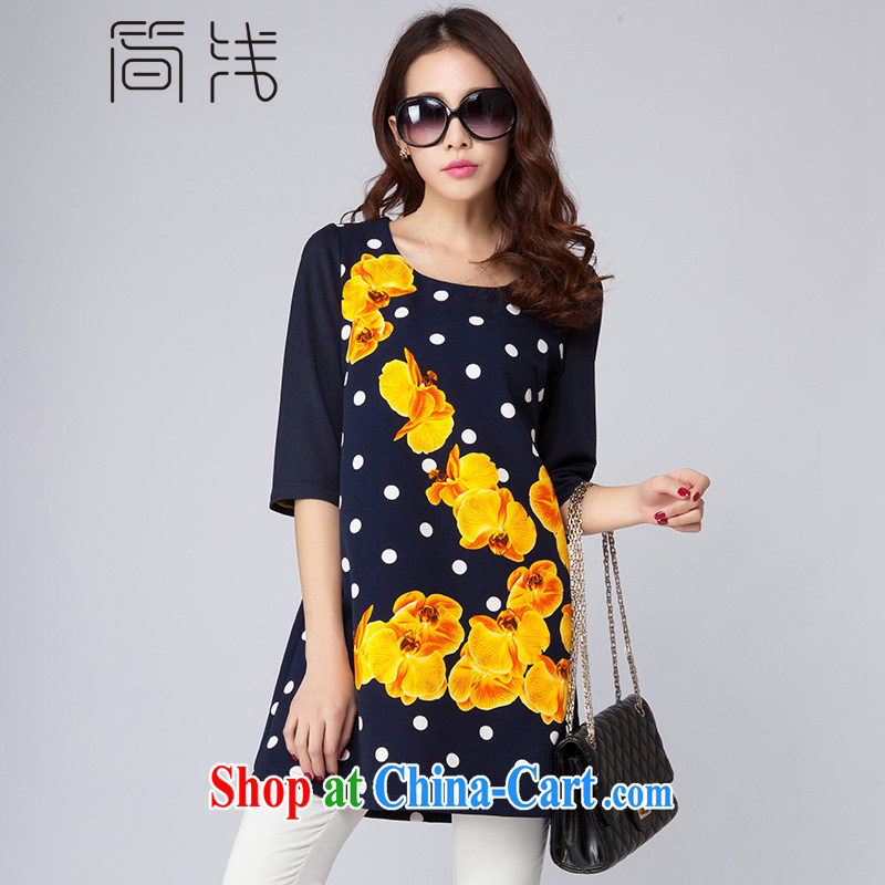 In short light dresses 2015 new king, women's clothing dresses 5 cuff round-collar wave point positioning a short skirts D 2022 wave point blue 4XL