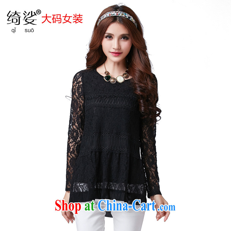 Most of the spring, female Korean lady XL video thin long-sleeved lace T-shirt beauty round-collar T pension number 2585 black 5 XL
