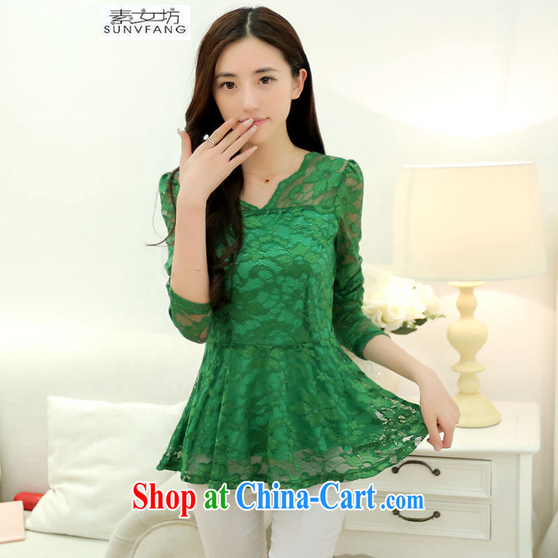 Pixel girl workshop 2015 spring and summer with new female lace Openwork shirt solid shirt girls long-sleeved lace snow woven shirts 8015 green XXL