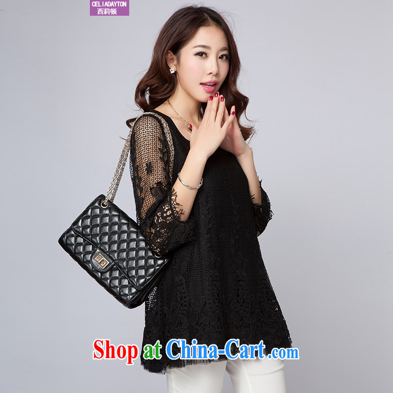 Cecilia Medina Quiroga and Macedonia, female 2015 spring new thick mm stylish graphics thin biological wearing lace girls T-shirt the fat summer stretch the shirt cuff in elegant solid black shirt XXXXL