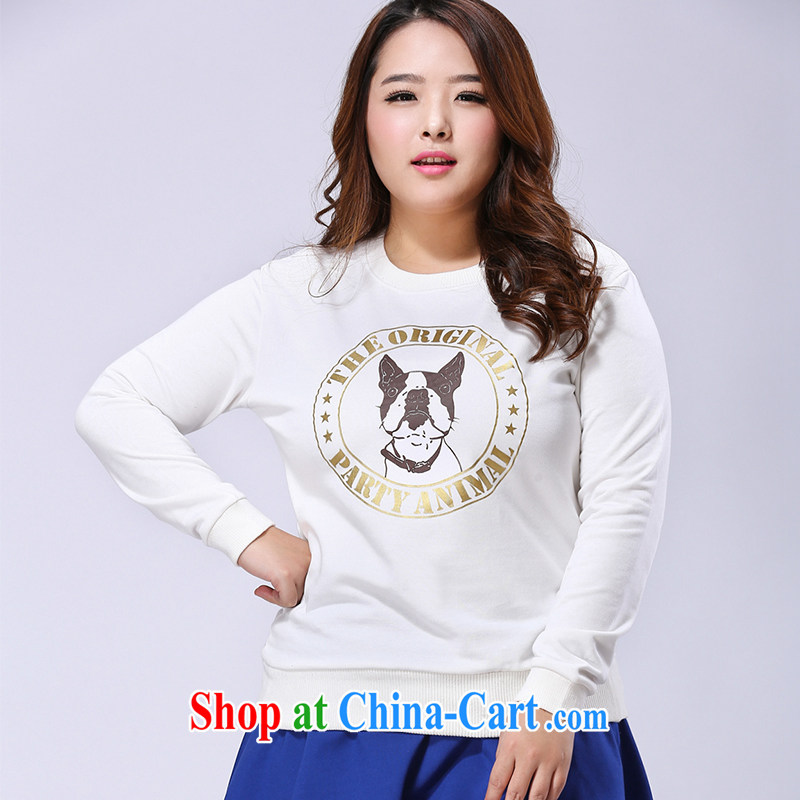 JK .,200 King code sweater spring 2015 spring new thick sister solid code the girls long-sleeved WE 51,202 white 4 XL