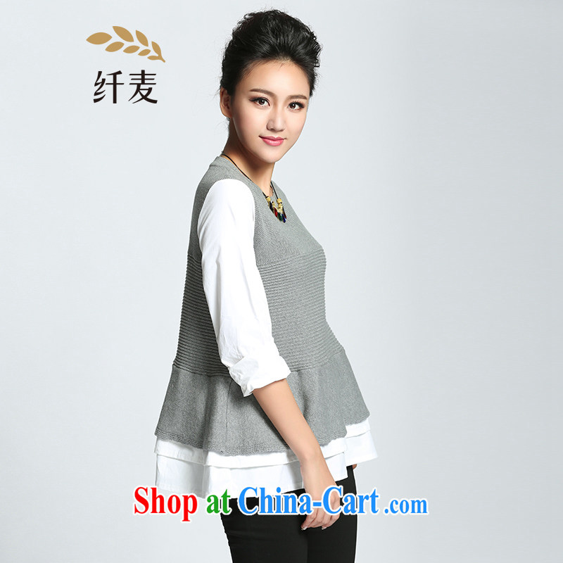 The Mak is the women's clothing 2015 spring new thick mm stylish casual loose woolen pullover 951136207 gray 3 XL
