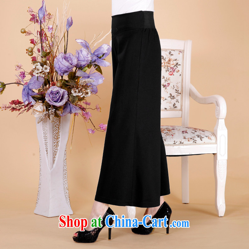 Han Rui 2015 NEW GRAPHICS thin female trouser press, older high-waist trousers black loose trousers large code pants spring and summer Wide Leg pants black 4 XL