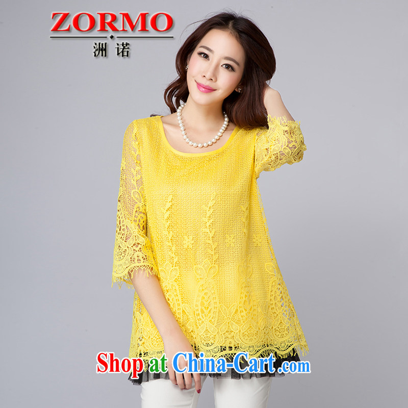 ZORMO spring 2015 new Korean girls 7 sub-cuff larger lace shirt thick mm Openwork flouncing T-shirt yellow 4 XL