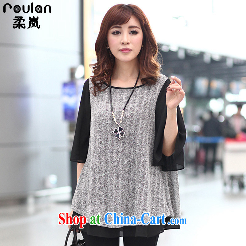 Sophie sponsors 200 Jack XL women mm thick 2015 spring and summer with new clothes, new explosions, Korean loose snow woven shirts T pension 1323 gray 5 XL