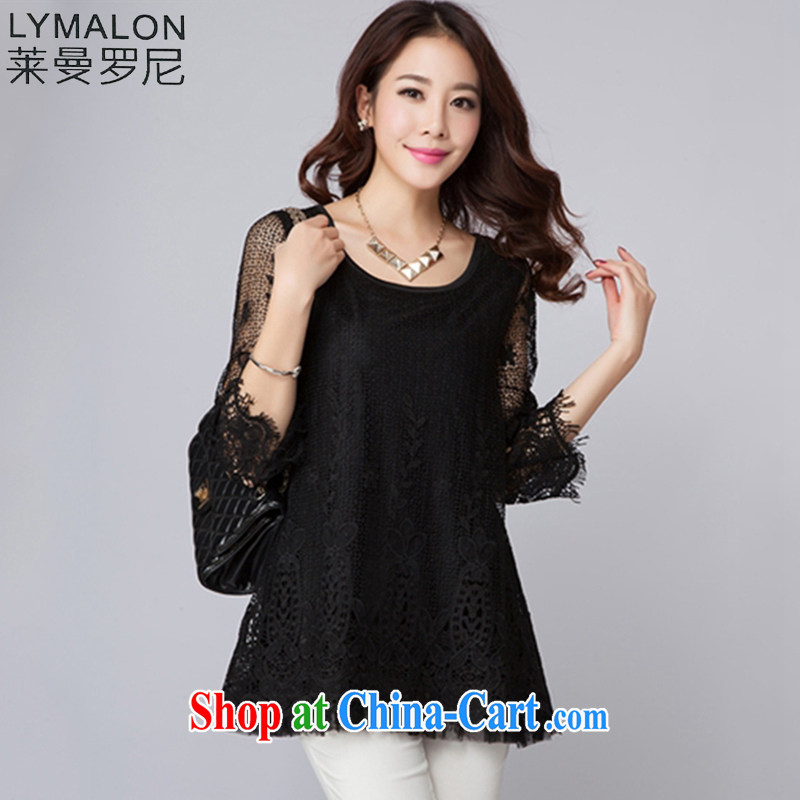 Lehman Ronnie lymalon 2015 spring new stylish lace larger blouses, Ms. sweet-lace T-shirt 5006 black XXXXL