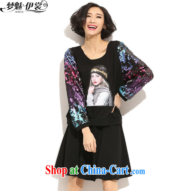 Let me clear the Advisory Committee 2015 spring new Korean fashion loose XL female Two-piece with solid long-sleeved T-shirt and a black skirt loose all code brassieres tile 106