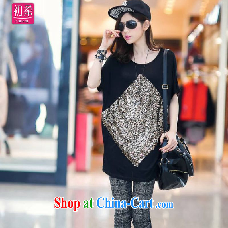 Flexible early summer 2015 ladies Korean loose video thin thick MM, long, Pearl embroidery, short-sleeve shirt T with BAT T-shirt 200 jack to wear picture color code