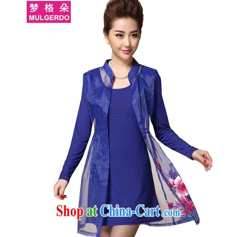 Let the Flower Spring 2015 new products, female fat sister graphics thin spring embroidered long-sleeved thick people dress s 8005 color blue L