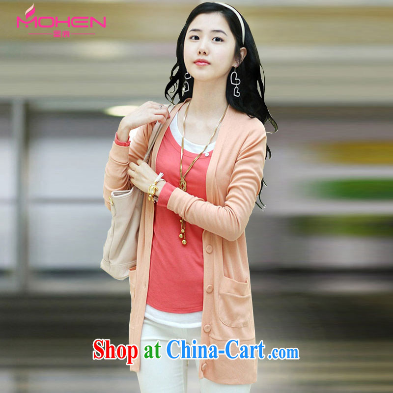 Scratches are present on the 2015 Korean girls spring loaded thick mm maximum code Ms. Shen V collar long-sleeved, long, knitted shirts girls cardigan jacket Air Conditioning T-shirt pink 2XL _135 - 145 _ jack