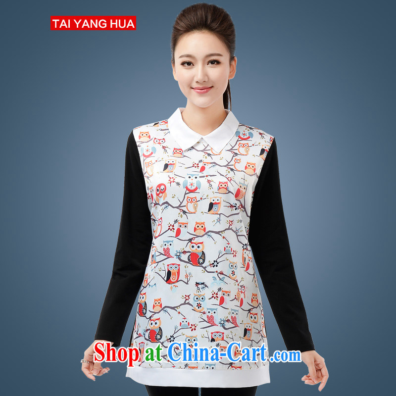 The Sun takes the fat XL female solid T-shirt 2015 spring new 200 Jack fat girls with fashion doll for long-sleeved shirt T 6195 white 5 XL _chest of 116 cm_