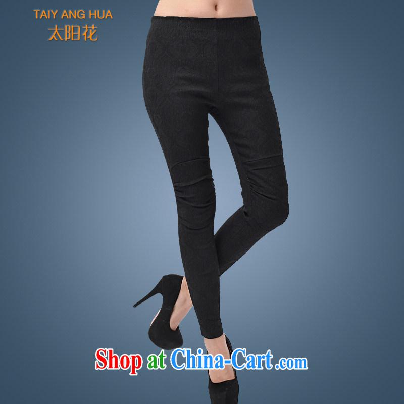Sun Flower Korean version 2015 new larger women pants solid high pop-up 200 Jack large code female fat sister to take castor pants 6211 black 5 XL (waist 101 - 120 CM