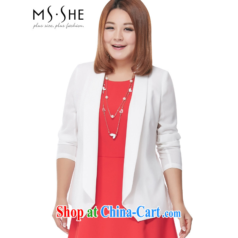MsShe XL ladies' 2015 new summer wear thick MM sister snow woven jacket cardigan jacket pre-sale 2896 white 4XL