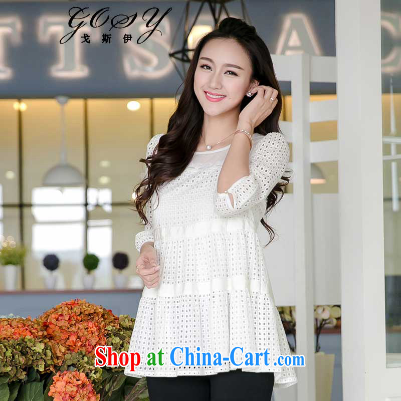 Al Gore, _GOSY_ 2015 spring new larger female bubble cuff Large Cotton T-shirt white 4XL _suitable for weight see details parameters table_